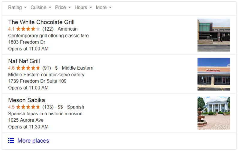 restaurant google search